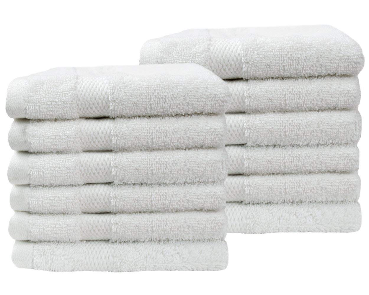 Cotton & Calm Exquisitely Fluffy Washcloths/Face Cloths Towel Set (12 Pack, 13'' x1 3''), Premium White Washcloths - Super Soft, Thick, and Absorbent for Face, Hand, Spa & Gym