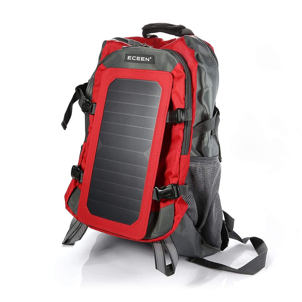 36Lバックパック7Wソーラーパネル充電器バックパック付きソーラーパネル男性と女性のラップトップバッグ17インチラップトップバックパックバッグ B07MJGL1MC Red