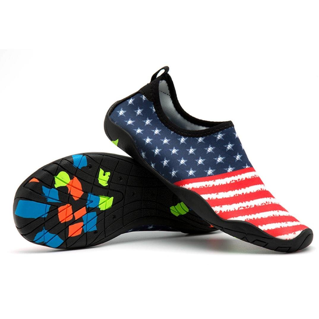 Gyoume American Flag Print Socks Flat Shoes Men Women Outdoor Shoes Yoga Water Sport Diving Swim Beach Snorkeling Low Heel Shoes B07DNTYHH5 US:9|Red