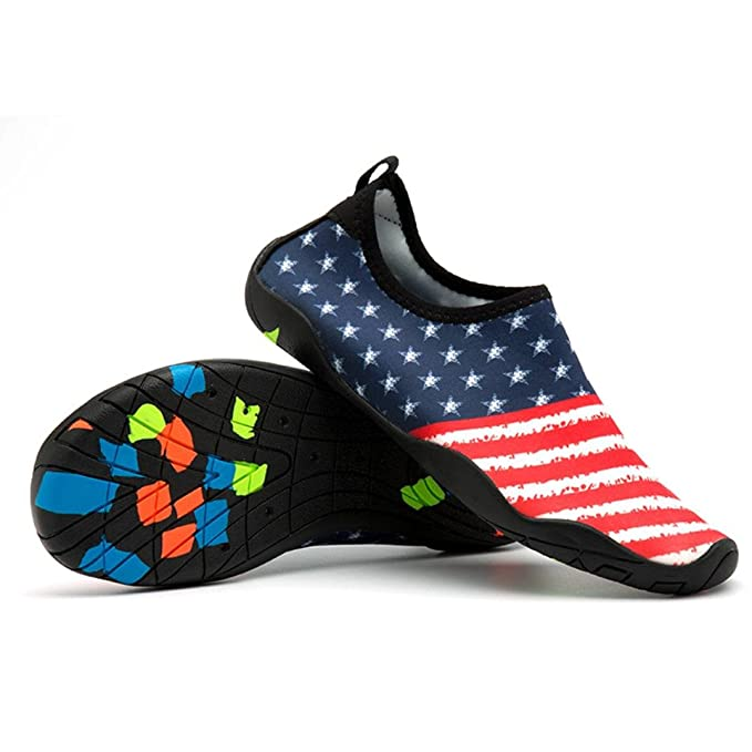 de7af5f42f09 Gyoume American Flag Print Socks Flat Shoes Men Women Outdoor Shoes Yoga  Water Sport Diving Swim Beach Snorkeling Low Heel Shoes