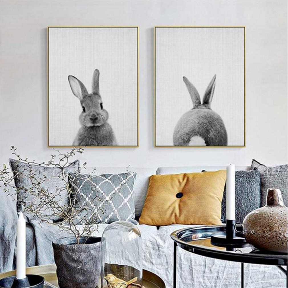 Impresión de lienzo Conejo lindo de la habitación de los niños animales modernos Cuadros De Arte De La Pared,2,30x40cm
