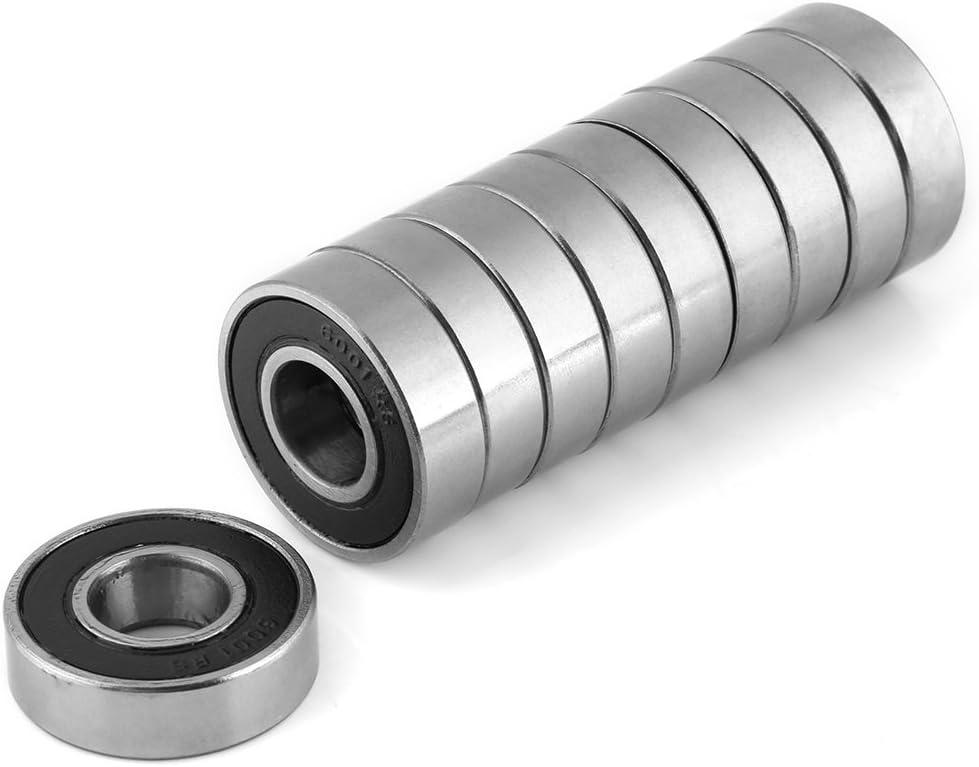 12x28x8mm 10pcs Rodamientos de Bolas Multiusos Rodamientos R/ígidos de Goma 6001-2RS Rodamientos