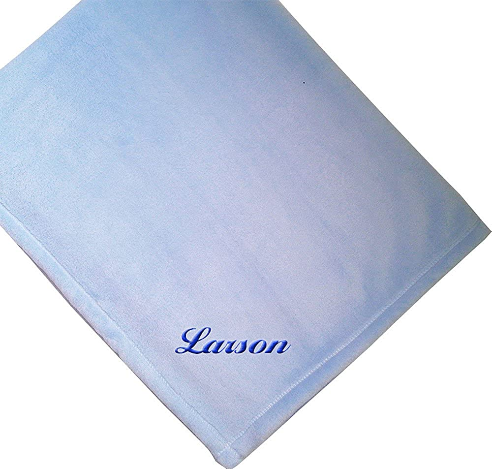 Fastasticdeal Custom Personalized Embroidered Monogrammed Name Soft Plush Blue Baby Blanket BLNTBCUSTOM101_B_B