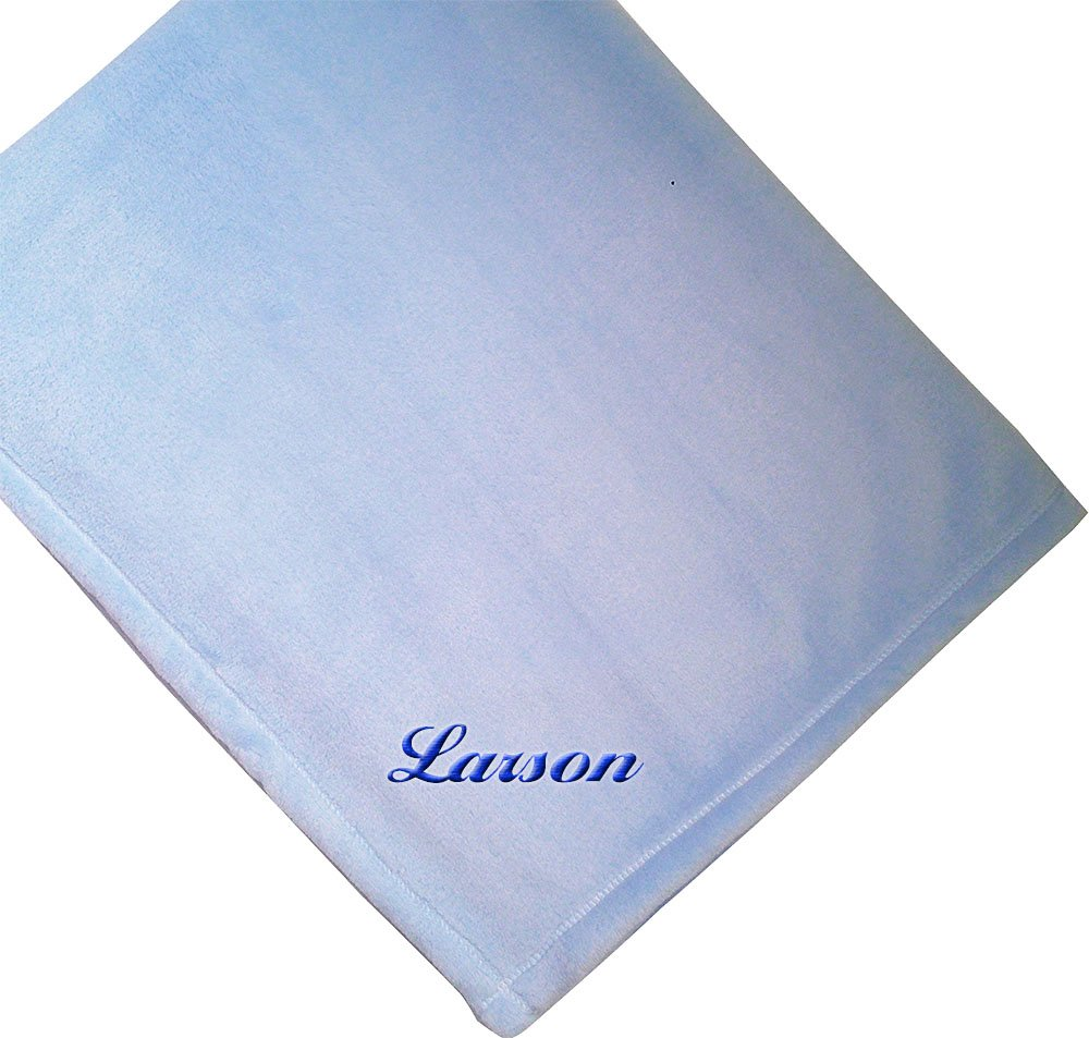 Fastasticdeal Custom Personalized Embroidered Monogrammed Name Soft Plush Blue Baby Blanket