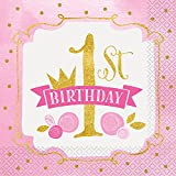 Pink and Gold Girls 1st Birthday Party Napkins, 16ct