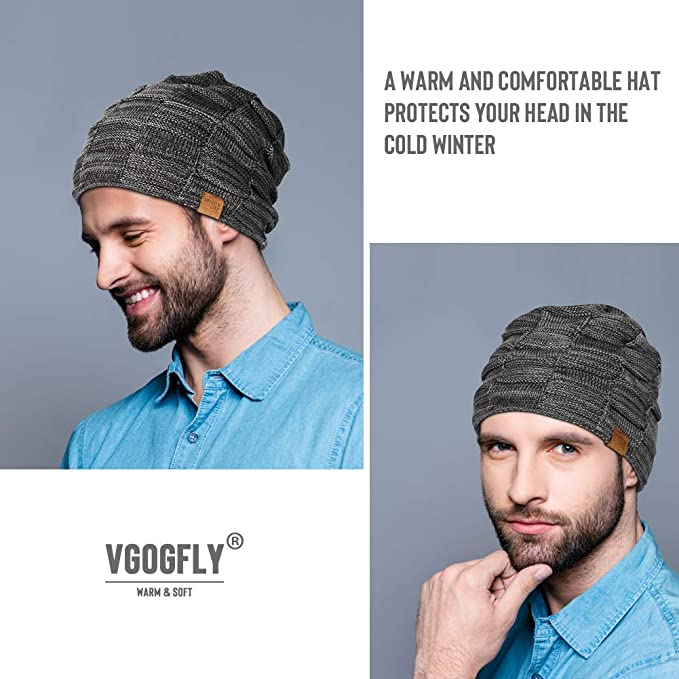 d888969eff3 Vgogfly Slouchy Beanie for Men Winter Hats for Guys Cool Beanies Mens Lined  Knit Warm Thick Skully Stocking Binie Hat Black at Amazon Men s Clothing  store