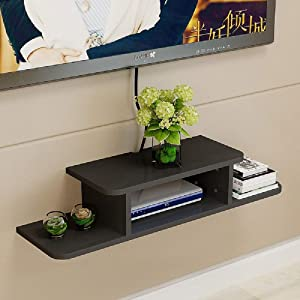 BiJun Floating TV Shelf Entertainment Center Wall Mounted Media Console, Router DVD Shelf, for Xbox One/PS4/Cable Box/DVD Players/Game Console Streaming Media Equipment(Black)
