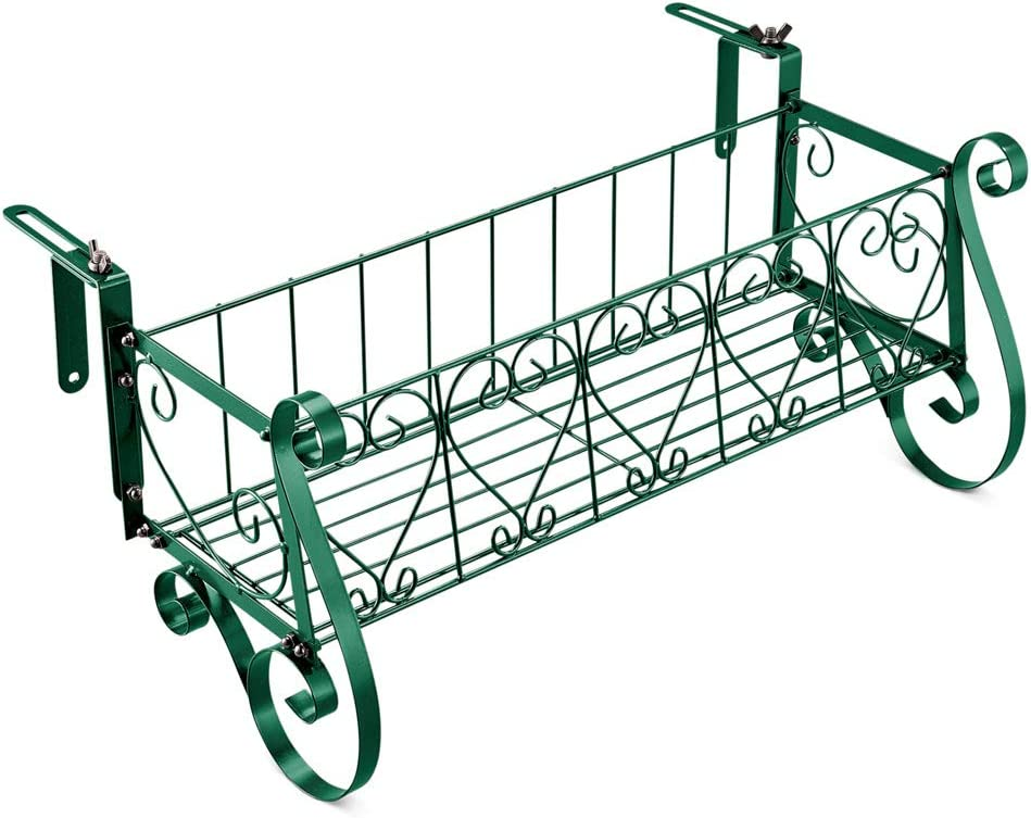 for Porch or Deck Railings Large Collections Etc Adjustable Metal Green Scrollwork Rail Planters Small Metal Beautiful Intricate Scrollwork Planters