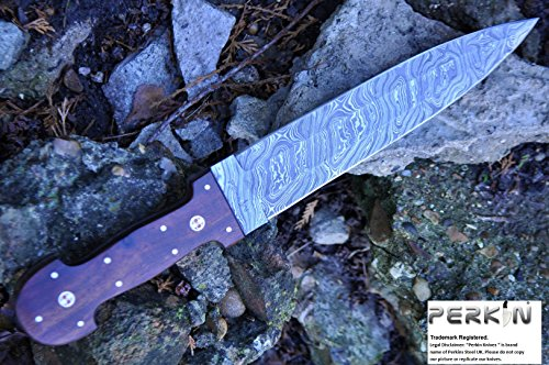 Perkin SALE Custom Damascus Handmade Hunting Knife Beautiful Hunting Knife - Double Egde