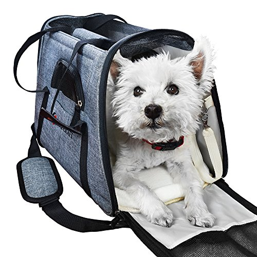 Ess And Craft Pet Carrier Airline Approved | Side Loading Travel Bag With Sturdy Bottom & Fleece Cushion | Ventilated Pouch With Top Handle, Shoulder Strap & Zipper Locks | For Dogs, Cats & Others (Gear Pet Small Travel)