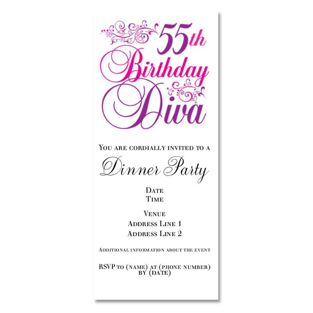 Amazon.com : CafePress - 55Th Birthday Diva - Invitations Glossy ...