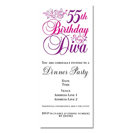 Amazon Com Cafepress 55th Birthday Diva Invitations Glossy