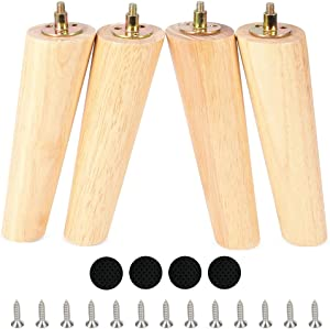 Wooden Round Furniture Legs Set of 4 Mid-Century Modern Sofa Couch Bed Coffee Chair Desk Table Slant Feet Legs with Pre-Drilled 5/16 Inch Bolt& Screws& Rubber Pads (8