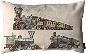 Beabes Vintage Train Throw Pillow Cover Old Locomotive Steam American Railway Retro Transport Art Journey 12x20 Inch Lumbar Pillow Case Cushion for Couch Sofa Home Decor Cotton Linen