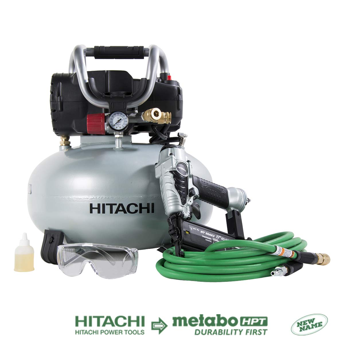 Hitachi KNT50AB Brad Nailer and Compressor Combo Kit, 6 Gallon Pancake Air Tank, 5 8 to 2 Brad Nails, Includes 25 Air Hose Discontinued by the Manufacturer