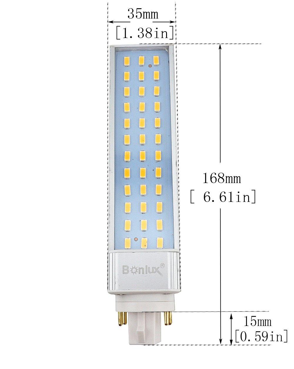 Bonlux 2 Pack Led Gx24q 4 Pin Rotatable Pl Lamp 26w Gx24 Cfl Wiring Diagram Replacement 180 Degree Beam Angle Daylight 6000k C Horizontal Recessed G24q Bulb