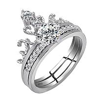 Prosperveil 2in 1con strass corona a forma di anello a doppio strato di rame donne anello gioielli