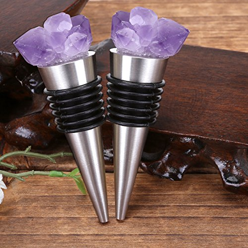 (Gemstone Wine Bottle Stopper, Yoption 2 Pcs Amethyst Gemstone Bottle Stopper, Decorative Wine and Champagne Stopper with Gift Box for Bar, Holiday Party, Wedding, Home Decoration)