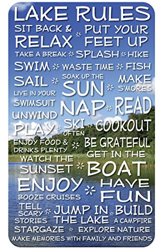 Lake Rules Sign: 18x30-inch Funny Decorative Wood Plaque with Lake and Clouds Background