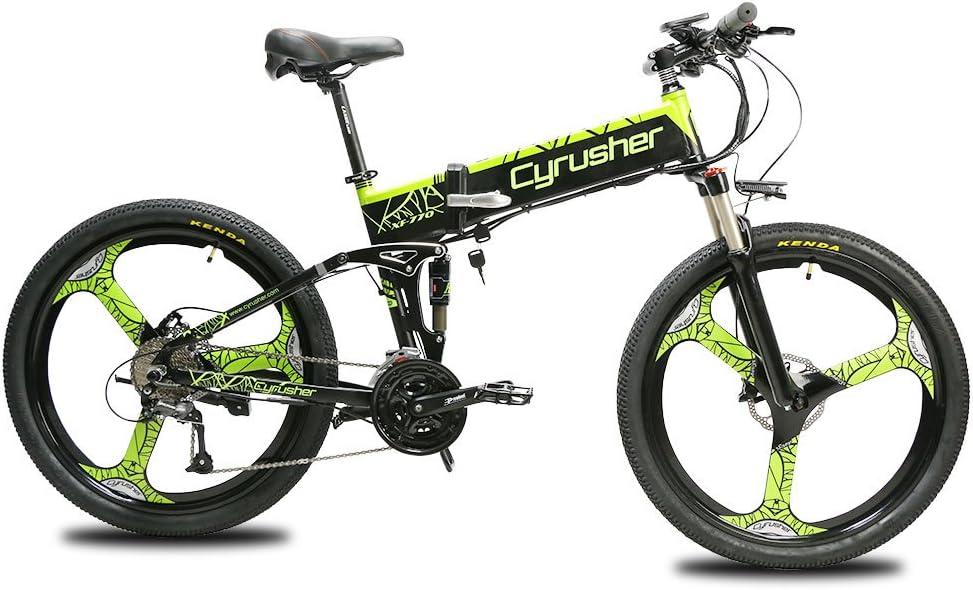 Extrbici Bicicleta de montaña XF770 500W 48V 27 velocidades Rueda de radios plegable marco de aleación de aluminio doble freno hidráulico bicicleta eléctrica
