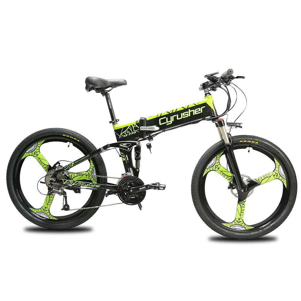 Green EXTRBICI XF770 Mountain Folding Electric Bicycle Integrated Wheel 3 Knife, 48V250W Motor 48V10A 480wh Panasonic Lithium Battery 26 Inch Aluminum Alloy Full Suspension 5 Gear Power
