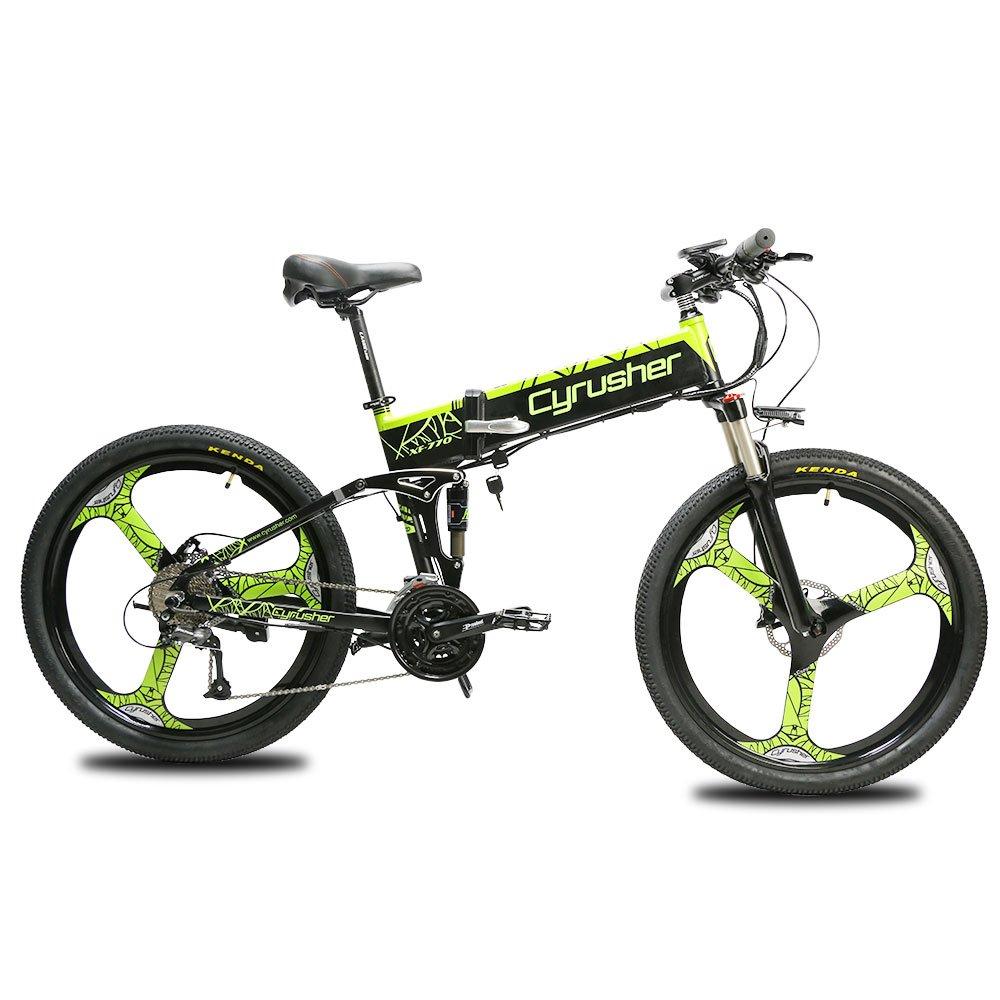 Cyrusher XF770 アシスト自転車 折り畳み フルサスペンション 26インチ 48V10ahリチウムバッテリー 専用充電器付け 27段速 マウンテンバイク デスクブレーキ 防犯登録可能 (緑, 250W)