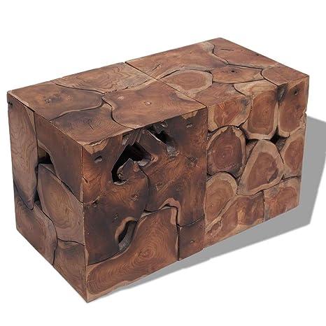 vidaXL Taburetes/mesa de centro madera de teca maciza ...