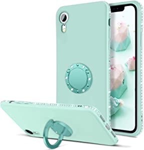 BENTOBEN iPhone XR Case, Phone Case iPhone XR, Slim Silicone | 360° Ring Holder Kickstand | Soft Rubber Hybrid Hard Protection Shockproof Bumper Non-Slip Cute Girls Women iPhone XR Covers, Mint Green