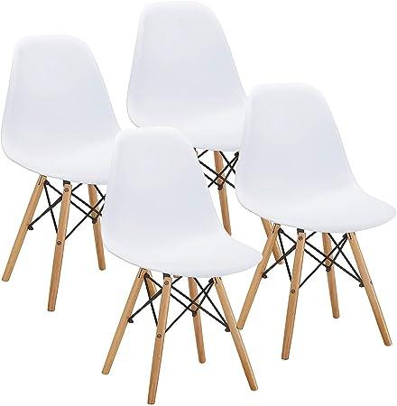 Vecelo Chaise Salle à Manger Scandinave Design Moderne Chaise De Sallon En Bois Pour Cuisine Terrasse Salon Blanche