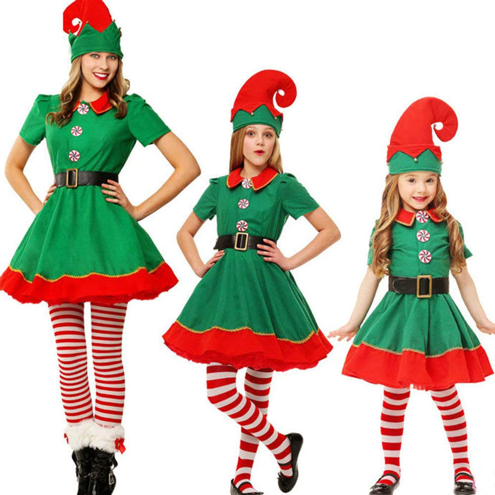 BaZhaHei Navidad Mamá Papá Niños Toddler Sombrero Calcetines Pantalones Tops Familiares Conjuntos de Disfraz de Disfraz de Disfraz de Navidad para ...