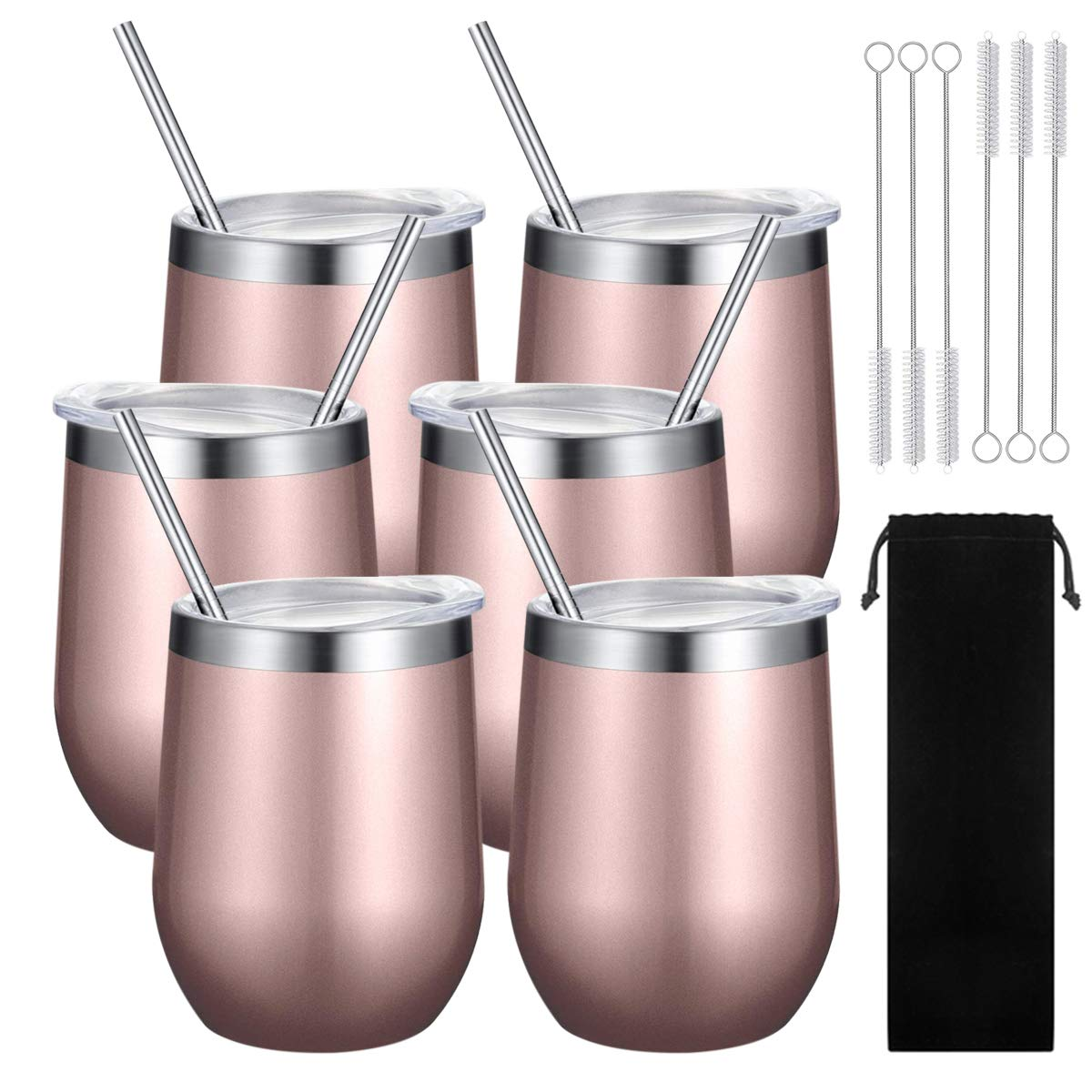 6 Sets Double-insulated Stemless Wine Tumbler Stainless Steel Unbreakable Wine Glass Cup Mug with Lids and Straws for Wine, Coffee, Drinks, Champagne, Cocktails, 12 Oz by Sangyn (Image #7)