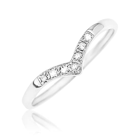 Ornami Glamour 9ct White Gold Diamond Wishbone Ring av1jubhd3