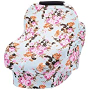 Baby car seat cover breastfeeding cover carseat covers for girls and boys (navy blue rose)