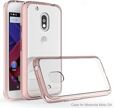 MOTO G4 / MOTO G4 Plus Funda, iBetter Silicona TPU +PC Funda Dura Ultra Fina Transparente Funda Cover Carcasa Para MOTO G 4th Generation / MOTO G 4th Generation Plus Smartphone, Dorado: