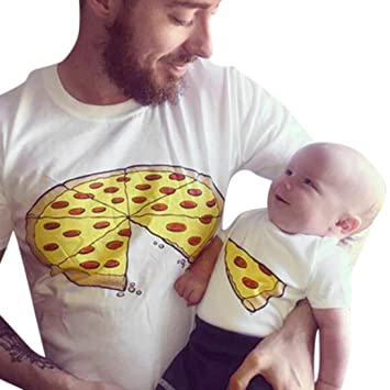 親子お揃い服 Mangjiu ピザアイデア印刷Tシャツパパ子供新生児 (赤ちゃん18M