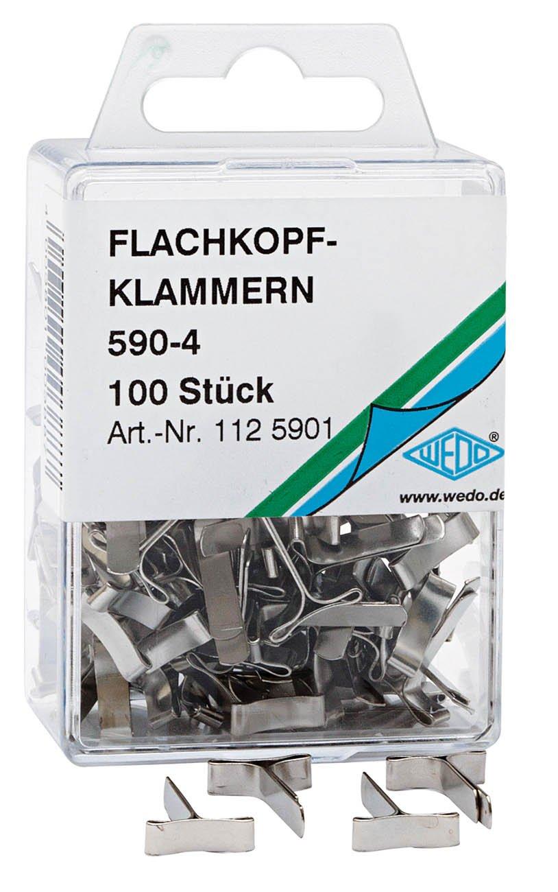 Wedo 1125901 - Ferma-campioni a testa piatta 590-4, in scatola trasparente, 100 pezzi, argento Werner Dorsch GmbH