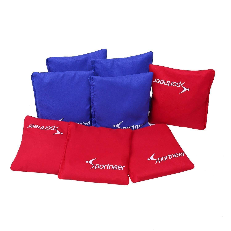 Sportneer set di sacchetti da Cornhole, 15,24 x 15,24 cm, in plastica, rimpimento con palline, con borsa per il trasporto, colore rosso/blu, confezione da 8