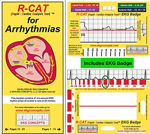 R-Cat 692782109 EKG Badge with Arrhythmia Pocket Booklet