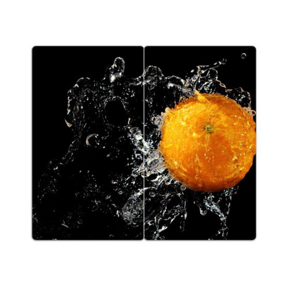 Noppen aus Glas Orange DEKOGLAS Herdabdeckplatten Set inkl Herd Ceranfeld Abdeckung 2-teilig universal 2x 52x30 cm