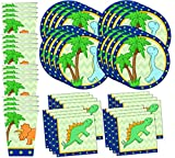 Little Dino Dinosaur Birthday Party Supplies Set Plates Napkins Cups Tableware Kit for 16 by Birthday Galore