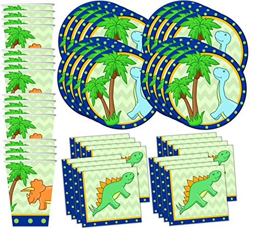 Little Dino Dinosaur Birthday Party Supplies Set Plates Napkins Cups Tableware Kit for 16 by Birthday Galore (Napkin Dinosaur)