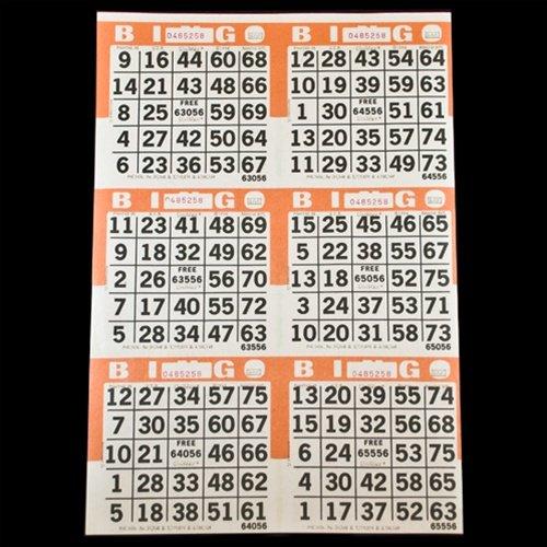 6 on Orange Bingo Paper Cards - 500 Sheets - 3000 Cards - Bingo Cards 6 Games