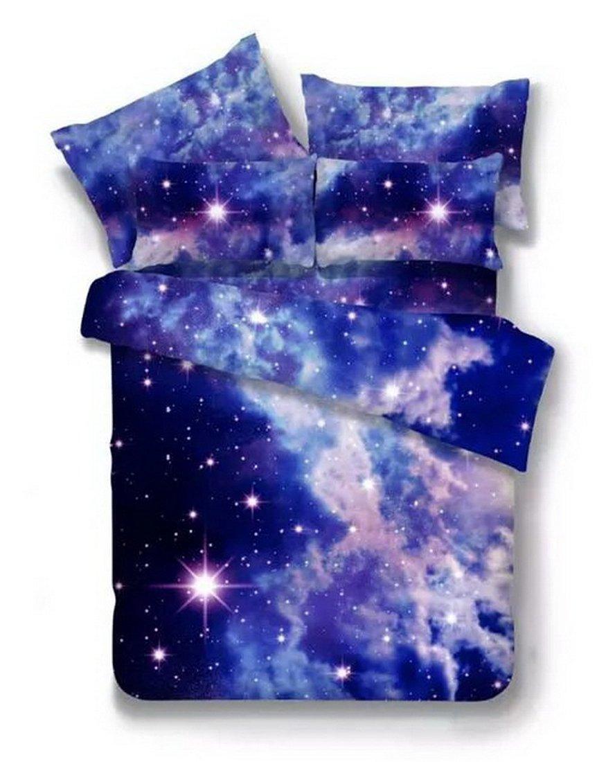 3D Bedruckte Steppdecke Bettbezug Kissenbezüge Spannbetttuch Geheimnisvolle Boundless Galaxy rot Sky Starry Night Betten Sets, Style 11, 3PCS 160-210cm B0787J7H9G Bettbezüge
