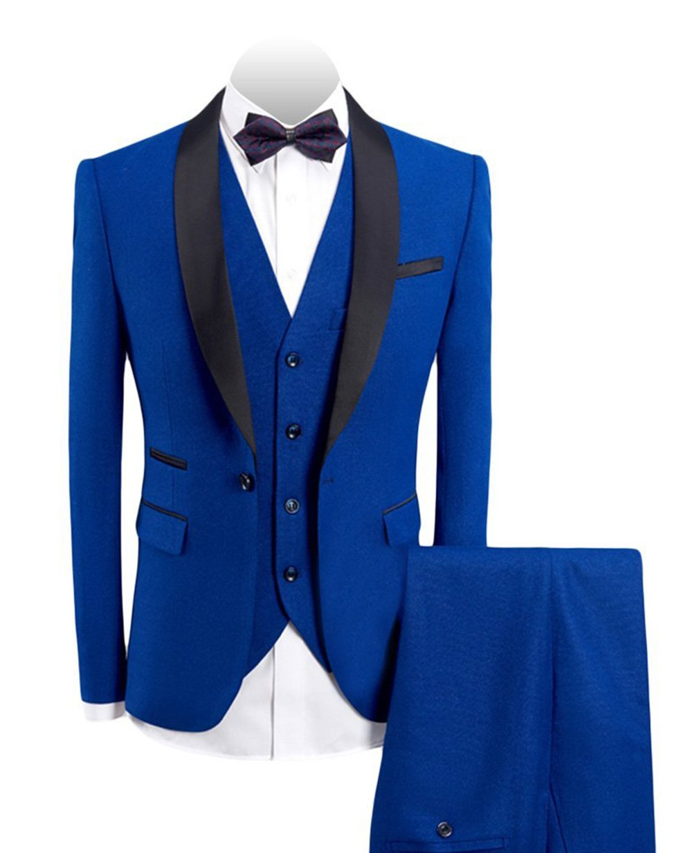 Fitty Lell Men's 3-Pieces Suit Shawl Lapel One Button Blazer Vested Dress Suit Set Groom Tuxedo(40 Regular,Royal Blue)