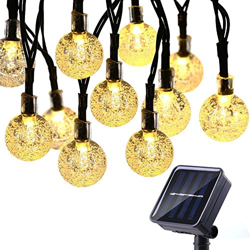Solar String Lights 50 LED 29.5ft Solar Patio Lights with 8 Modes, Waterproof Crystal Ball String Lights for Patio, Lawn, Garden, Wedding, Party, Christmas Decor(Warm White) (Globe Solar String Lights)