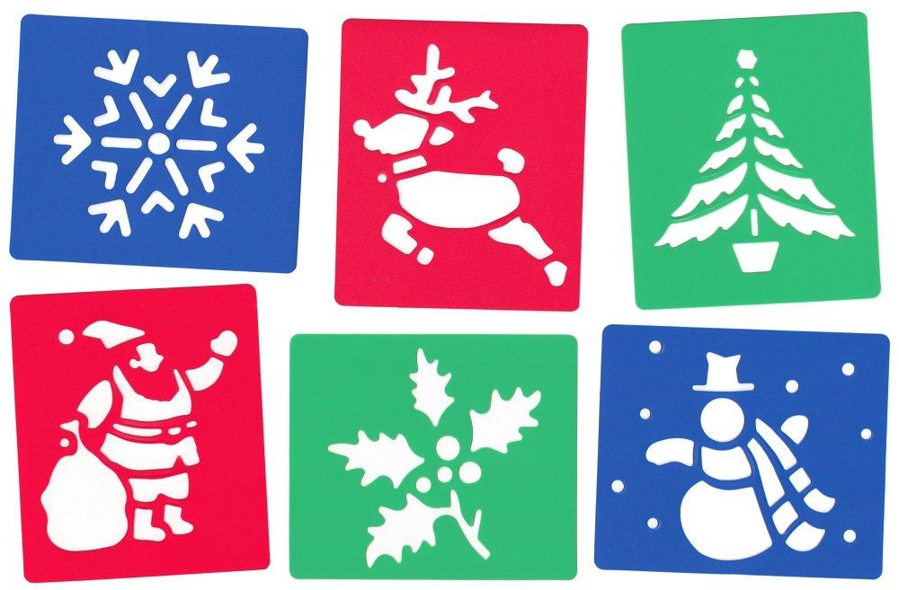 Christmas stencils - Pack Of 6 - Reindeer,Snowman,Christmas Tree,Santa Claus,Snowflake,Holly Neatsales