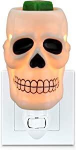STAR MOON Halloween Pluggable Fragrance Warmer Wax Melter for Home/Dorm/Office No Flame No Smoke No Soot Packaged Together with Two Bulbs - Joker Skull