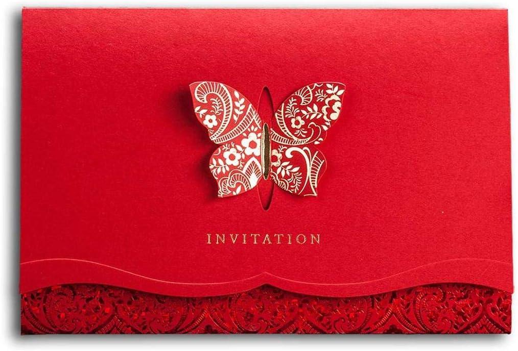 PXNH 1pcs invitaciones de boda, tarjeta de cumpleaños imprimible elegante de las tarjetas de la mariposa 3d con los sobres