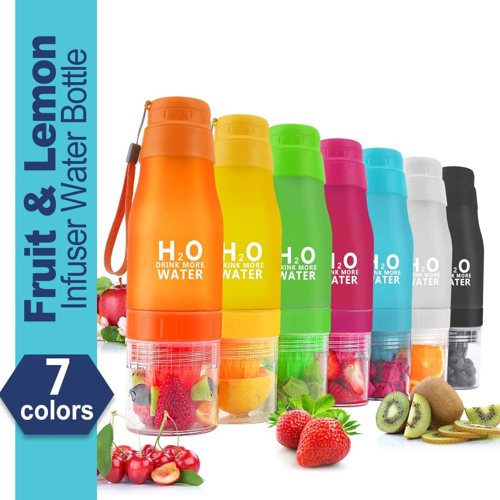 HANTAJANSS H2O Lemon Water Bottles, 20 oz Leak Proof Fruit Infuser Sport Bottle for Yoga, Pilates, Outdoor, Cycling, Traveling