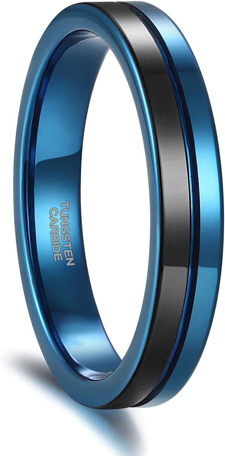 Greenpod 4mm Tungsten Wedding Bands for Women Men Blue/Silver/Gold/Rose Gold Engagement Rings High Polish/Brushed Finish Grooved Comfort Fit Size 4-12